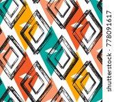 rhombus paint brush strokes... | Shutterstock .eps vector #778091617