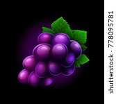 grapes icon isolated on black... | Shutterstock .eps vector #778095781