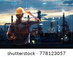 Double exposure of engineer...