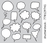 hand drawn speech bubbles in... | Shutterstock .eps vector #778129741