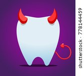 white tooth with devil horn | Shutterstock .eps vector #778144459