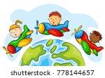 group of children riding... | Shutterstock .eps vector #778144657
