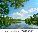 Summer River With Bright Blue...
