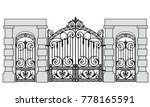 black forged gate and wickets... | Shutterstock .eps vector #778165591