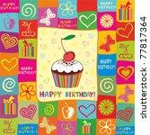vector happy birthday card.... | Shutterstock .eps vector #77817364