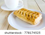 corn pie and coffee cup on... | Shutterstock . vector #778174525