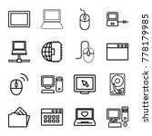 pc icons. set of 16 editable... | Shutterstock .eps vector #778179985