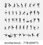 dancing girl with pole icons...   Shutterstock .eps vector #778184071