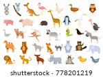 collection of funny wild and... | Shutterstock .eps vector #778201219