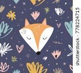 vector  clip art. cute fox... | Shutterstock .eps vector #778224715