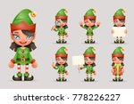 girl cute elf christmas santa... | Shutterstock .eps vector #778226227