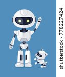 robot with raised arm  waving... | Shutterstock .eps vector #778227424