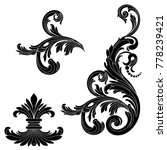 set of vintage baroque ornament ... | Shutterstock .eps vector #778239421