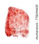 Small photo of Bloody fingerprint on a white background