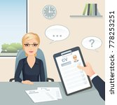 job interview. candidate middle ... | Shutterstock .eps vector #778253251