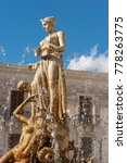 Small photo of Close-up of the fountain of Diana, Archimedes square in downtown of Ortigia, Syracuse, Sicily island, Italy