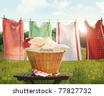 Stock photo cotton towels drying on the clothesline with sunny blue sky 77827732