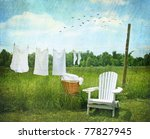 Stock photo laundry drying on clothesline on beautiful summer s day 77827945
