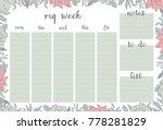 weekly planner withpink flowers ...   Shutterstock .eps vector #778281829