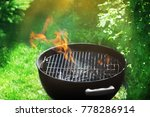 barbecue grill on backyard | Shutterstock . vector #778286914