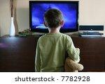 watching tv with sweet teddy... | Shutterstock . vector #7782928