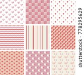 set of 9 seamless patterns with ... | Shutterstock .eps vector #778295629