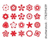 set of red flower icons | Shutterstock .eps vector #778295659