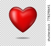 Red Realistic Heart  Isolated.