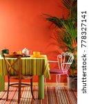 modern orange living room... | Shutterstock . vector #778327141