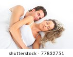 young man and woman in bed.... | Shutterstock . vector #77832751