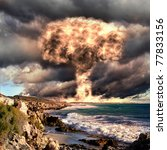 nuclear explosion in an outdoor ... | Shutterstock . vector #77833156