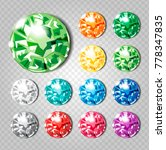 crystals icons set of 12 colors ... | Shutterstock .eps vector #778347835