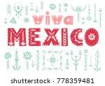 """trendy poster """"viva mexico""""...   Shutterstock .eps vector #778359481"""