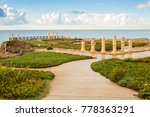 Small photo of Ruins of ancient Cesarea built by Herod, Israel