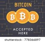bitcoin accepted vector.... | Shutterstock .eps vector #778366897