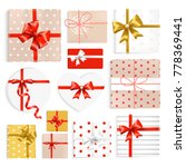 colorful gift boxes set. top... | Shutterstock .eps vector #778369441