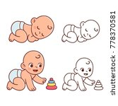 cute little baby playing with... | Shutterstock .eps vector #778370581