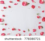 Stock photo frame of rose petals flat lay valentine s background 778380721