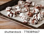 chocolate crinkle cookies with... | Shutterstock . vector #778389667