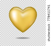 gold realistic heart  isolated. | Shutterstock .eps vector #778411741