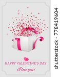 open white gift box with red... | Shutterstock .eps vector #778419604