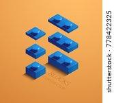 blue 3d lego element. 3d... | Shutterstock .eps vector #778422325