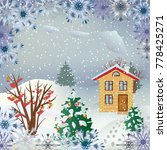 vector snowfall landscape with... | Shutterstock .eps vector #778425271