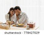 very happy couple eating...   Shutterstock . vector #778427029