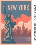 new york retro poster. vintage... | Shutterstock .eps vector #778434325