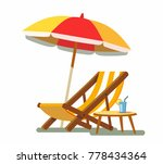 deckchair and umbrella on the... | Shutterstock .eps vector #778434364