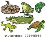 set of reptile cartoon...