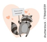 illustration with a raccoon in ... | Shutterstock . vector #778464559