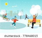 winter park.young woman... | Shutterstock .eps vector #778468015