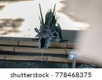 Stock photo washbasin in shinto shrine ritual washing hands and rinsing the mouth 778468375
